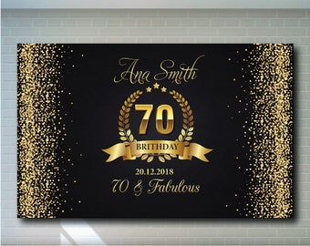 70th Birthday Backdrop Black And Gold Printable Personalized Adult Party Banner 02