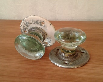 Knobs. 2 vintage door knobs. Interior door knobs. Glass door knobs in green. Glass knobs with metal. Rustic decor. Soviet knobs