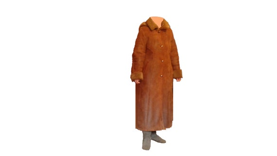 Vintage long brown sheepskin coat with a hood. Wom