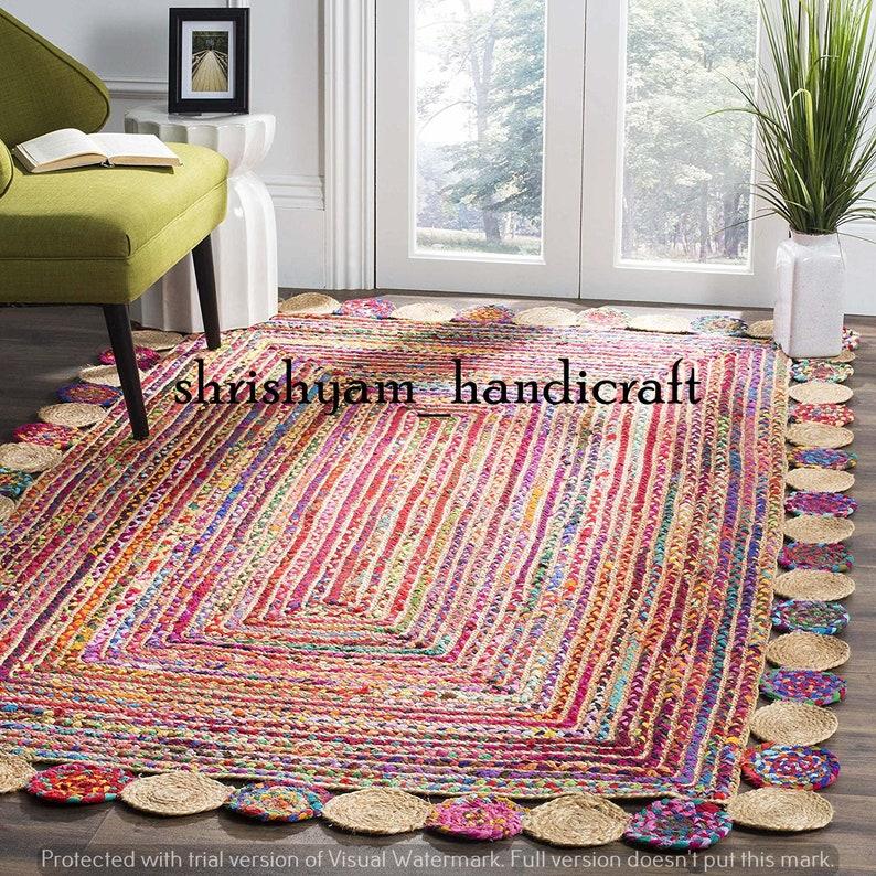 Bohemian Handmade Jute /& Cotton Mix Rug 6x9 Feet Rectangle Shape Home Living Carpet Multi Colour Area Rug Indian Rag Rug Braided Rag Rug