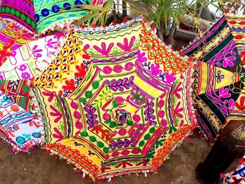 3 Pcs Indian Wedding Umbrella Floral Designer Outdoor image 0