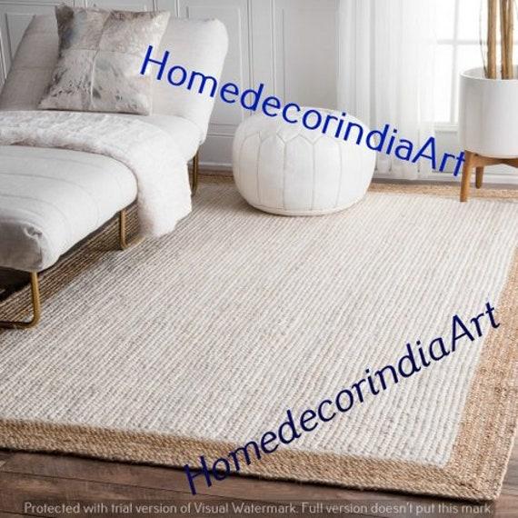 Jute Rug Oval Handmade Braided Reversible White Carpet Floor Vintage Home Decor