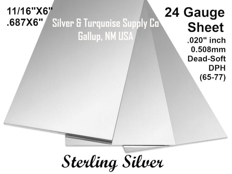 .125 Dead Soft Temper DPH .010 X 36 65-77 .0005 X 6 Good Finish 1116 X 6 24 Gauge Sterling Silver Sheet .016