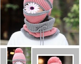 Bonnet hiver 3 en 1 plaire et laine cache cou bonnet cache menton rose gris  6 à 10 ans fillette bf830f4a771