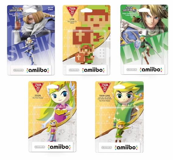Link 30th Anniversary Wind Waker Zelda And Link Smash Bros Link Sheik Amiibo Card Breath Of The Wild Nfc Tag