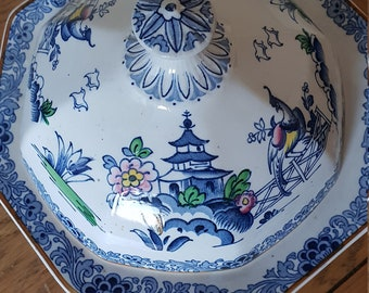 Pottery & China Vintage Booths Teapot Lowestoft Deer Silicon China Blue White Antique Numbered