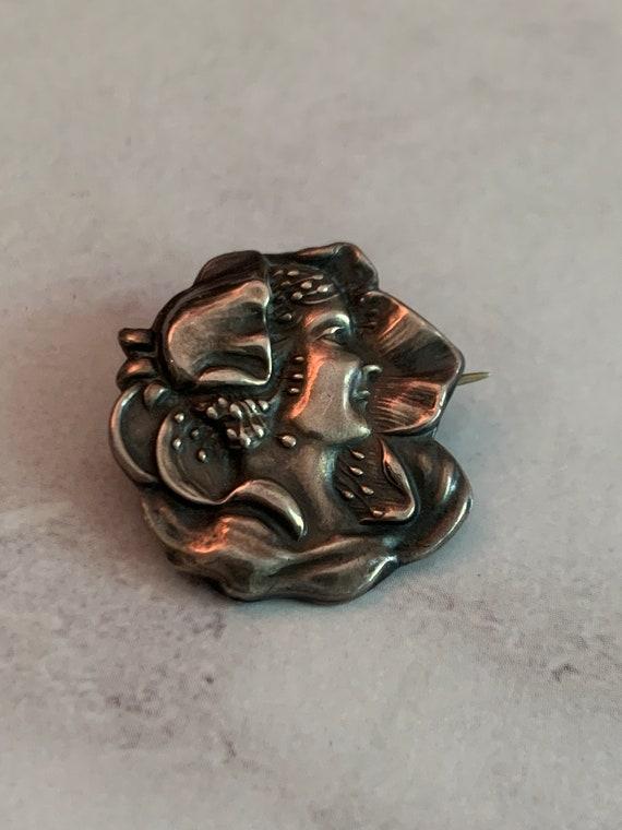 Art nouveau sterling lady pin