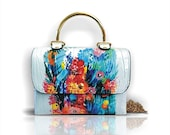 Hand painted handbag, exclusive artwork. Available for shipping.