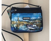 Hand painted handbag, exclusive artwork ( quot Boat by the shore quot ). Available for shipping.