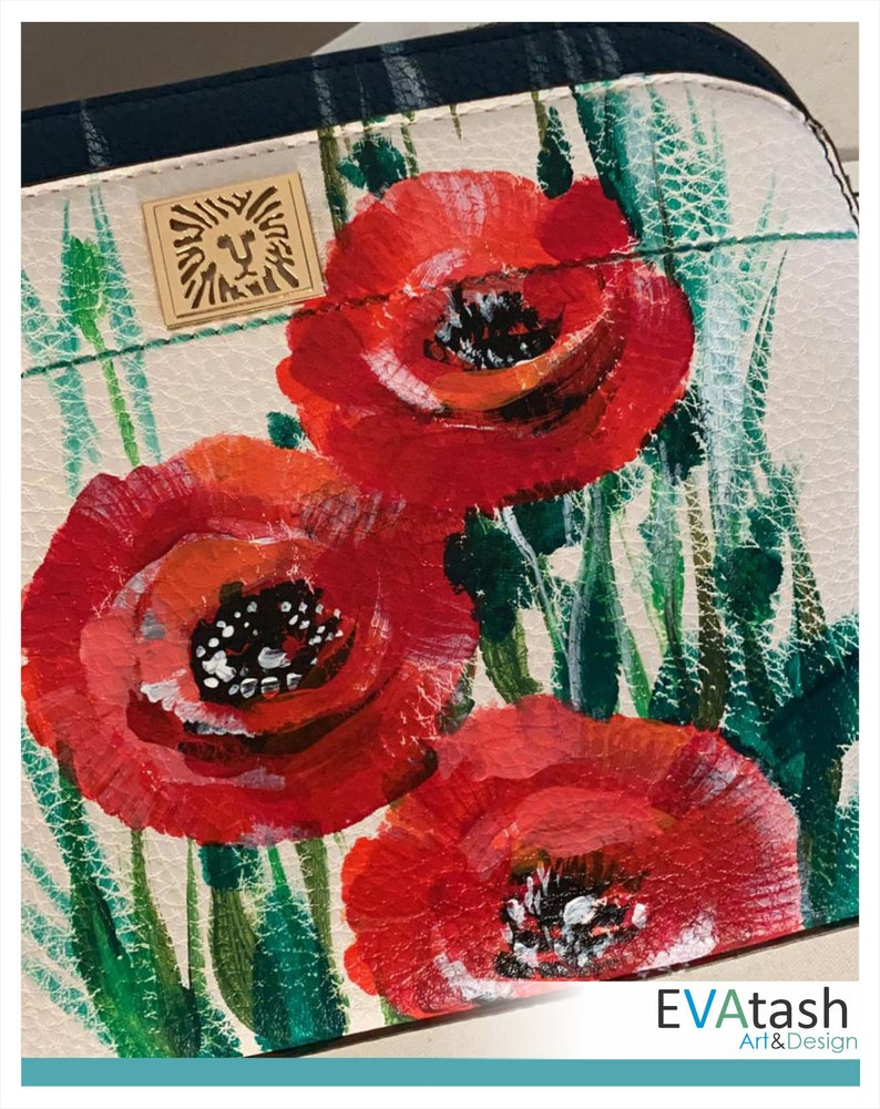 exclusive artwork Hand painted handbag Red poppies Available for shipping.