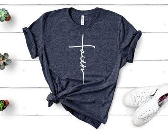 2656ca6a76 Faith Cross - Christian Apparel, Christian Tees, Christian T-Shirts, Religious  Apparel, Christian Clothing, Jesus Shirt, Religion Shirts