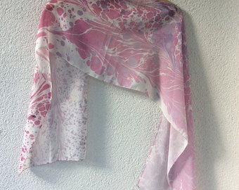 Hand painting chiffon pink for spring accessories women's scarf, gift for friends, mother's day gift.