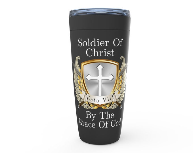 Soldier of Christ Black Viking Tumbler