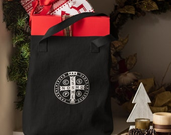 Benedict medal embroidered tote bag -- Black.