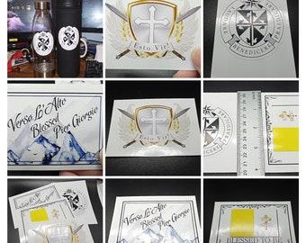 Vinyl Catholic stickers for water bottles, laptops, car windows, etc.!