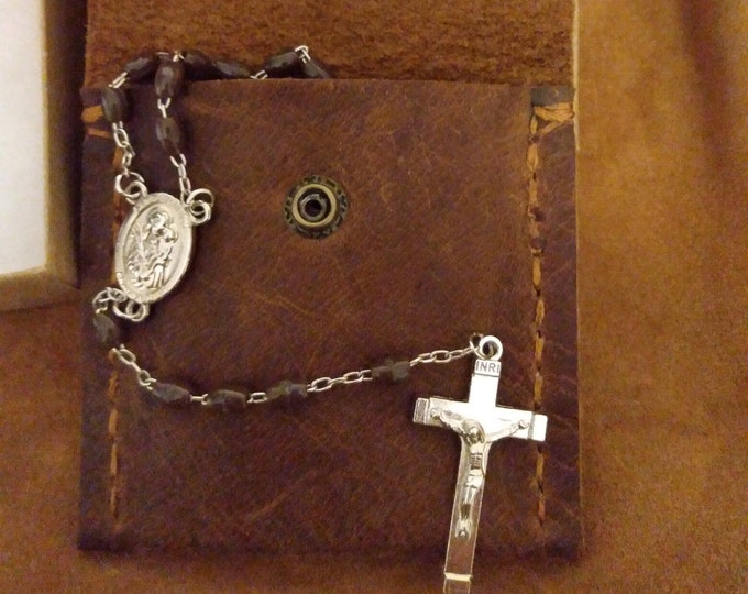Crazy Horse Leather Rosary Pouch