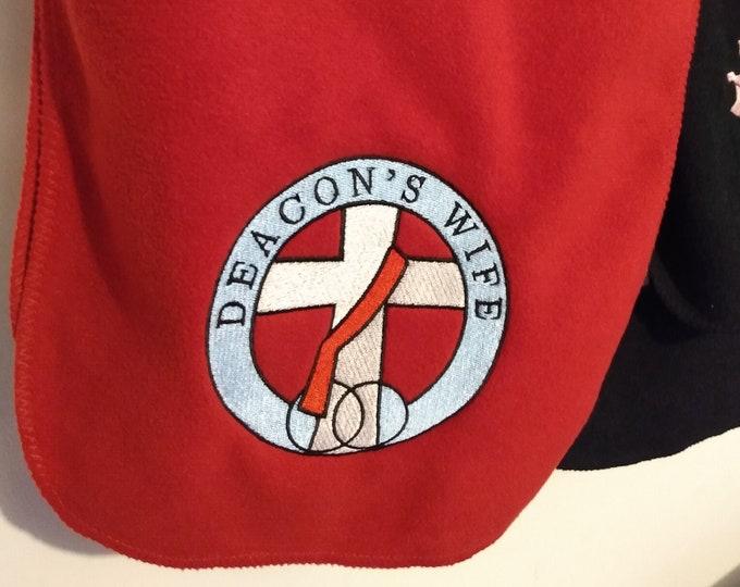 Deacon's wife embroidered extra long fleece scarf