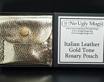 Italian Leather Gold Tone Rosary Pouch (pouch for coins, earrings, rings, necklaces, etc.). ***LIMITED QUANTITIES***