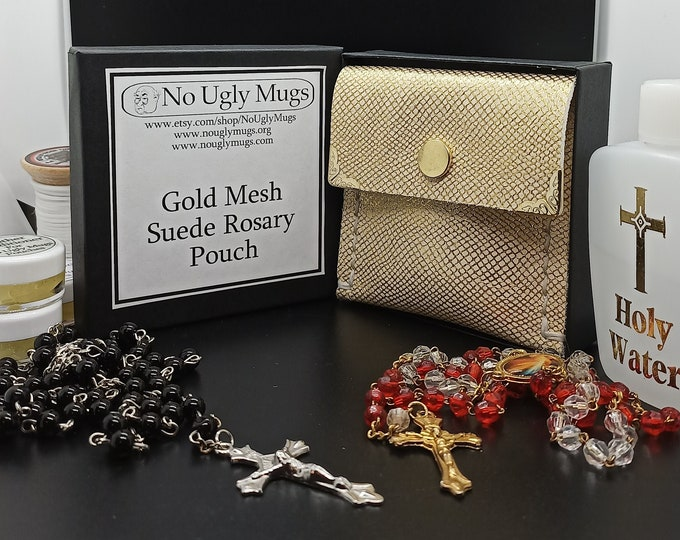 Gold Mesh Suede Rosary Pouch (pouch for coins, earrings, rings, necklaces, etc.). ***LIMITED QUANTITIES***
