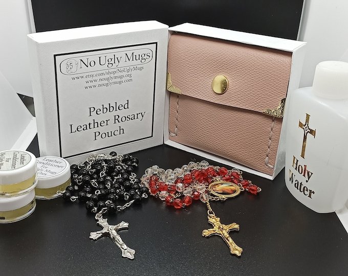 Pebbled Leather Rosary Pouch (pouch for coins, earrings, rings, necklaces, etc.). ***LIMITED QUANTITIES***