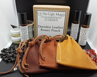 Deerskin Leather Drawstring Rosary Pouch