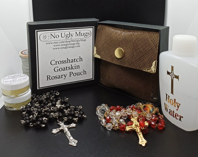 Crosshatch Goatskin Rosary Pouch (pouch for coins, earrings, rings, necklaces, etc.). ***LIMITED QUANTITIES***