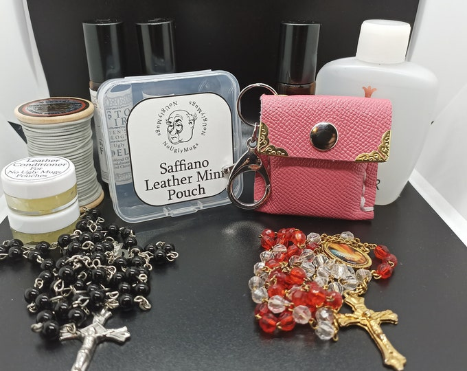 Saffiano Leather keychain Mini Pouches for rings, earrings, coins, rosaries.  (Please take note of size as these are MINI pouches)
