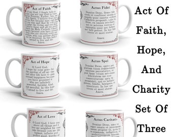 Act of Faith, Hope and Charity Set of Three Mugs
