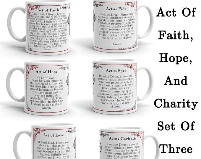 Act of Faith, Hope and Charity Set of Three Mugs