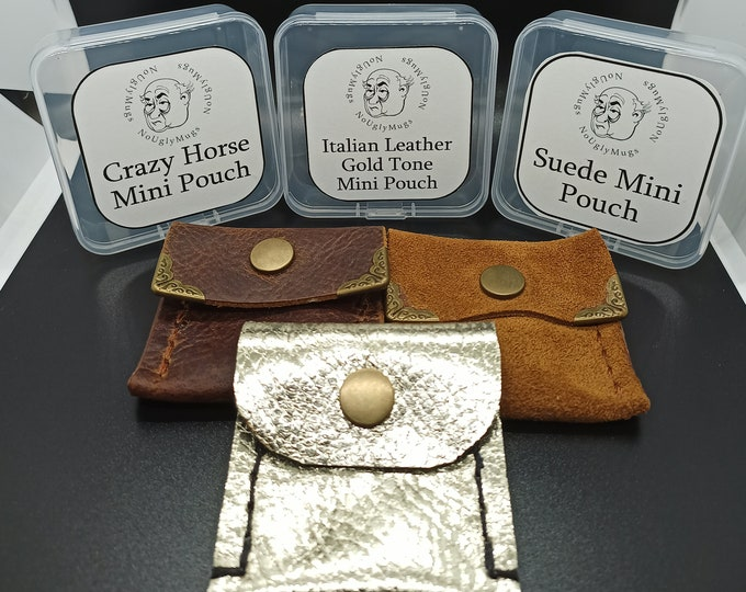 Handmade Leather Mini Pouches for rings, earrings, coins, rosaries.  (Please take note of size as these are MINI pouches)