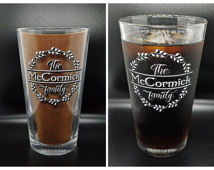 Personalized Family Name Pint Glass 16 oz