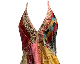 Boho Handmade Patchwork Fair Trade Halter Neck Indian Silk Sari Blouse Top