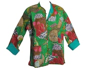 Reversible Missy Floral Quilted Cotton Outerwear Jacket Cardigan Blouse JK No15