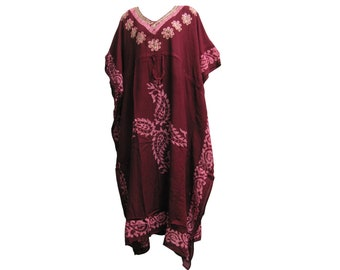 9223b2eb1 Indian Boutique Embroidered Paisley Bohemian Gypsy Long Caftan Kaftan Dress
