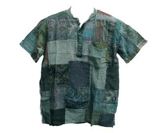 d87c5859705 Men's Indian Vintage Bohemian Hippie Patchwork Short-Sleeved Shirt Blue  Tones