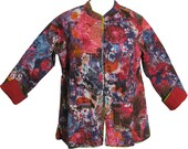 Reversible Missy Floral Quilted Cotton Outerwear Jacket Cardigan Blouse JK No23