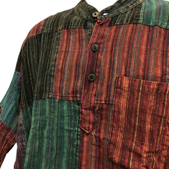 Grandad Shirt Smart Pinstripe 100/% Cotton Kurta Hippy Festival Hippie Jacket