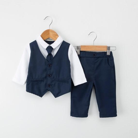 5 Yrs Page Boy Christening Wedding 4pc Short Linen Blend Navy Blue Suit 6 Ms