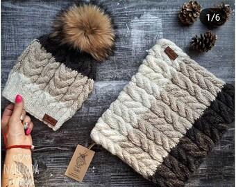 Conjunto gorro con pom pom de pelo natural y cuello tejidos manual ideal  para cualquier edad gorros de moda gorros hipster bufandas invierno 6f69afecf07