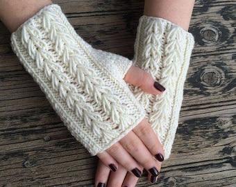 Mitones de lana tejidas a mano calienta dedos guantes invierno din dedos  regalos adolescente-mujer navidad calienta muñecas manos invierno fd0c61aa8d3f