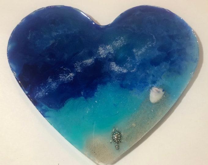 Heart shaped beach themed large coaster
