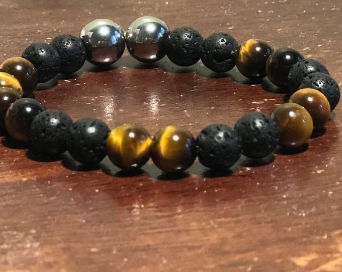 Tiger eye and laca beads mens bracelet