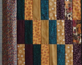 """QUILTED TABLE RUNNER, Quilted Table Topper, Patchwork Table Runner, 33"""" x 17"""" Reversible Runner, Brown Table Runner, Table Protector"""