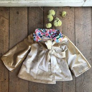 3T Girls Fall Jacket Toddler Coat Golden Velvet Woodland Creatures Coat