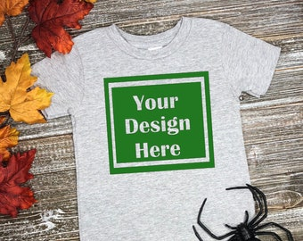 Download Free Blank Gray Top View Kids T-Shirt Flat Lay Apparel Mockup, Children's Styled Stock, Halloween , Mock Up Shirt, Wood Background, JPG Download PSD Template