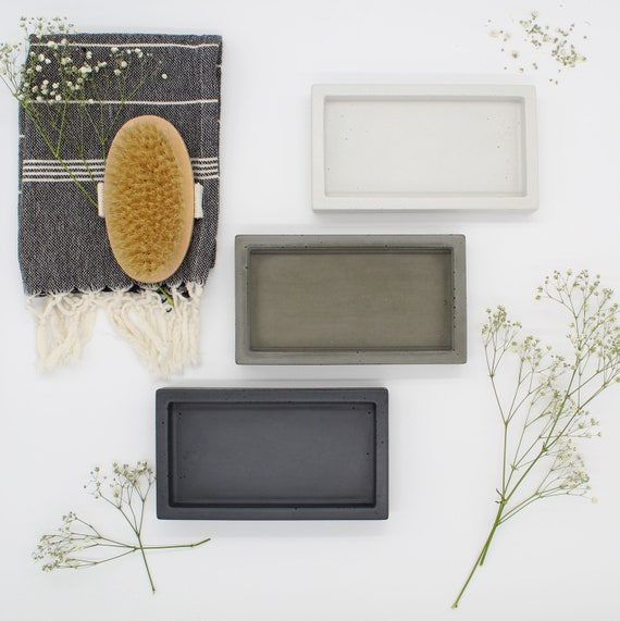 Concrete Tray | Soap Bottle Tray | Catchall Tray | Rectangular Tray | Modern Bathroom Tray | Kitchen Tray | Valet Tray | Key Tray