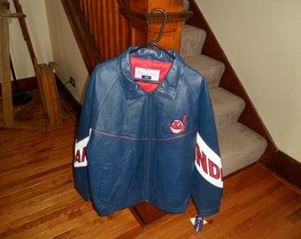 9ece4b6a7cf Vintage Cleveland Indians Chief Wahoo Leather Coat   Jacket Size Large
