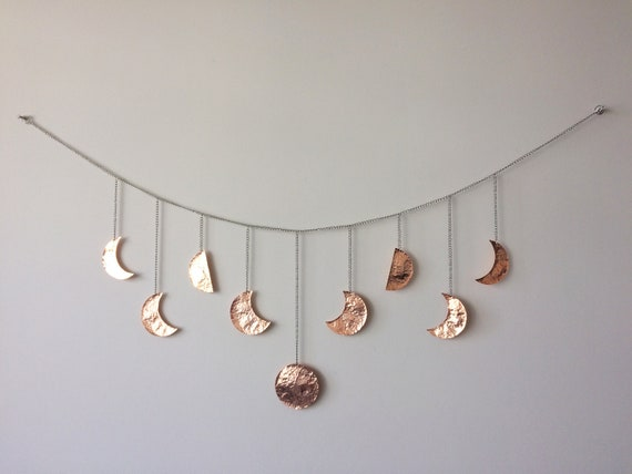 55x20x0.60mm Crescent Wall Art H174 Q373 2 Rose Gold Plated Brass Crescent Moon Wall Hanging Decor with 4 Holes
