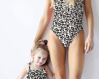 2e514316ff3 Cute leopard print One piece Adult and little girls Swimsuit