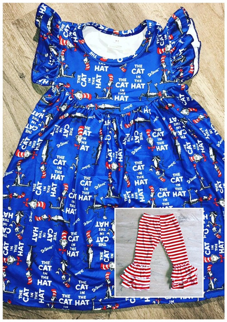 Dr. Seuss Dress Blue Cat In The Hat Dress Tunic Top sizes 2T image 0